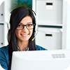 image of woman with headset.