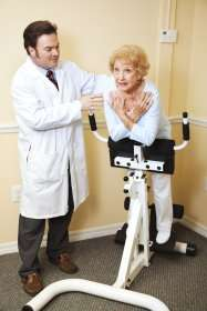 image of a chiropractor working with an elderly woman