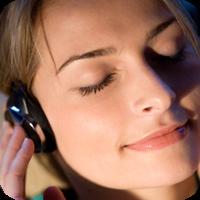image of woman listening to headphones.