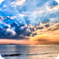 image of sunset over ocean.