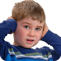 image of young boy covering his ears in pain