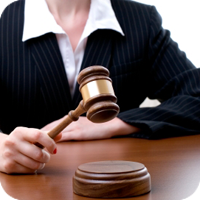 image of a judge about to strike her gavel