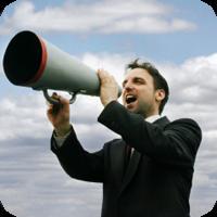 image of man using megaphone.