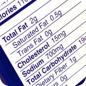image of nutrition label.